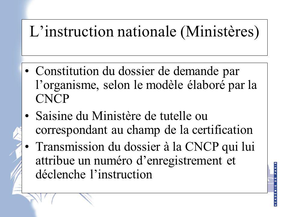 L'instruction nationale (Ministères)