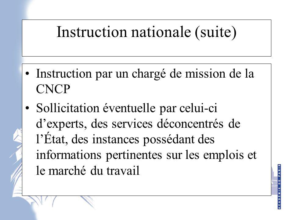 Instruction nationale (suite)