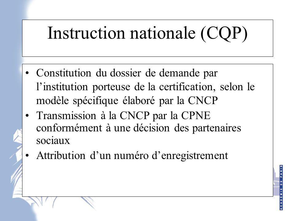 Instruction nationale (CQP)