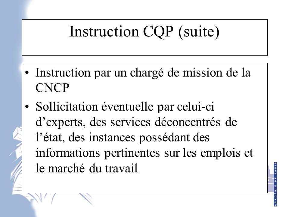 Instruction CQP (suite)