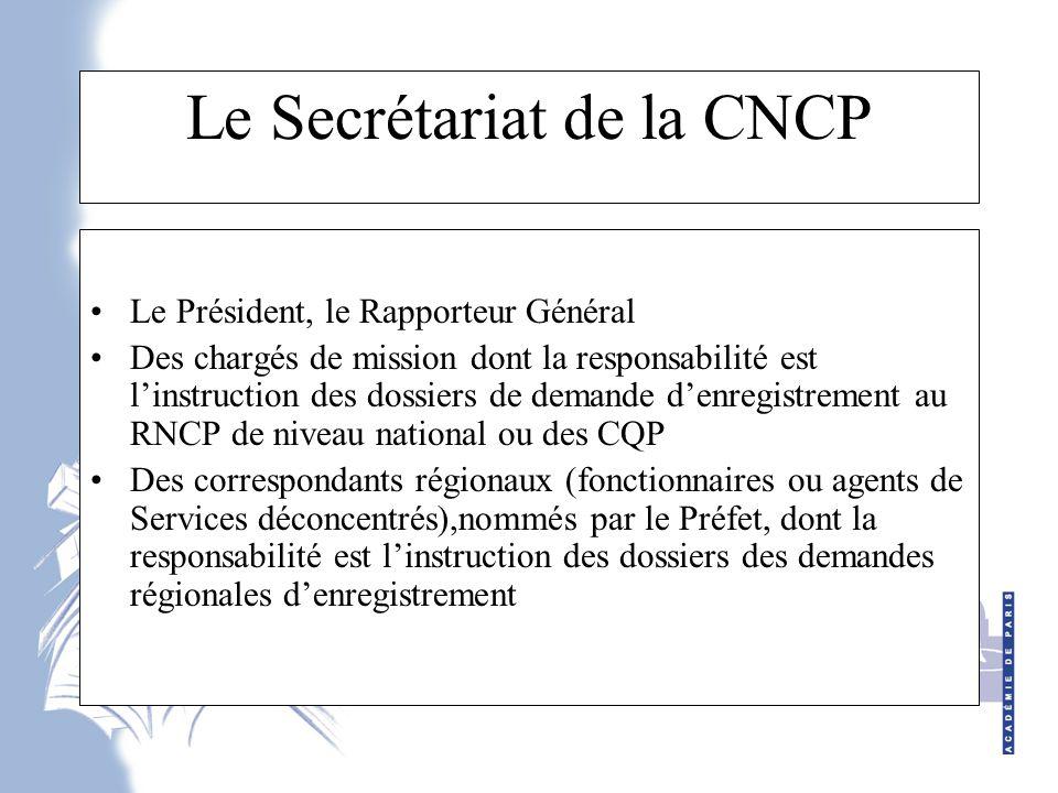 Le Secrétariat de la CNCP