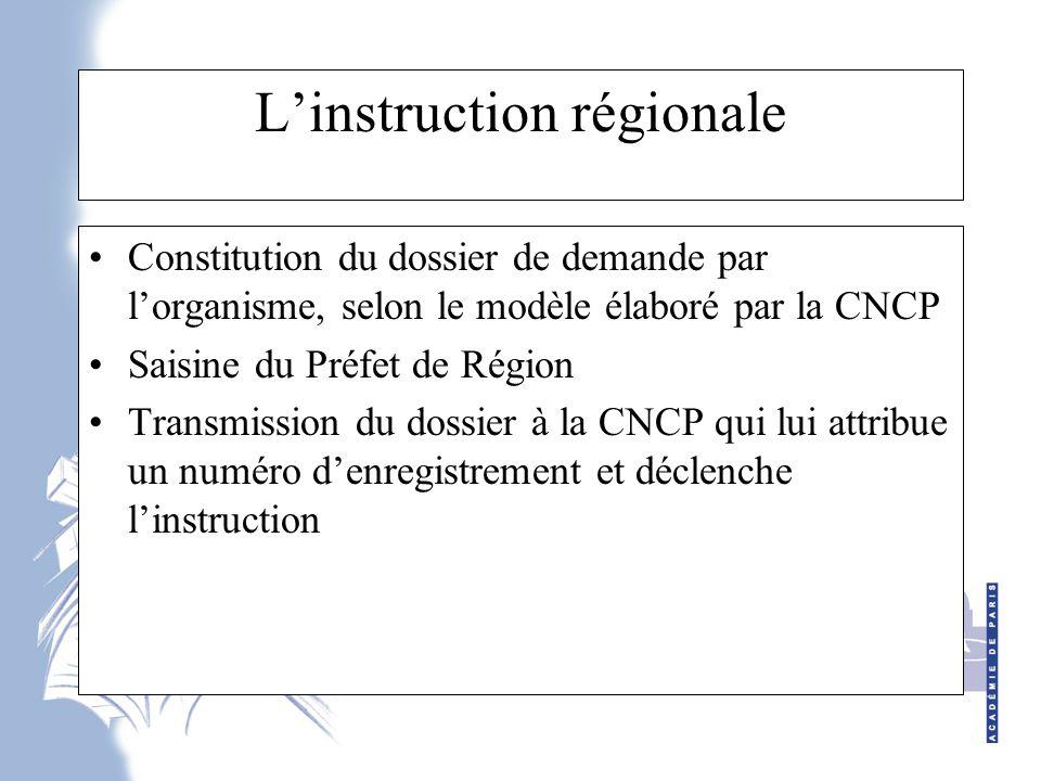 L'instruction régionale