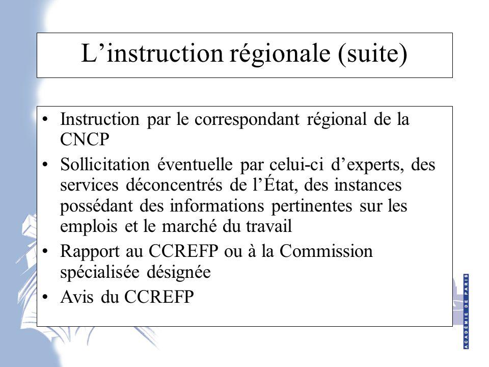 L'instruction régionale (suite)