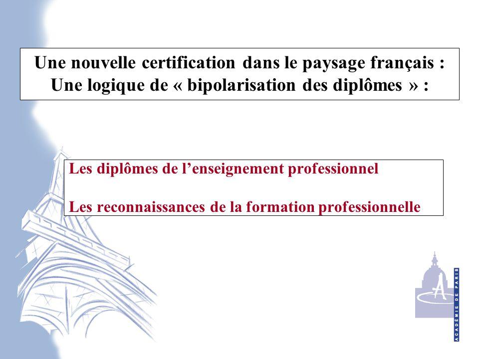 Une nouvelle certification dans le paysage français : Une logique de « bipolarisation des diplômes » :