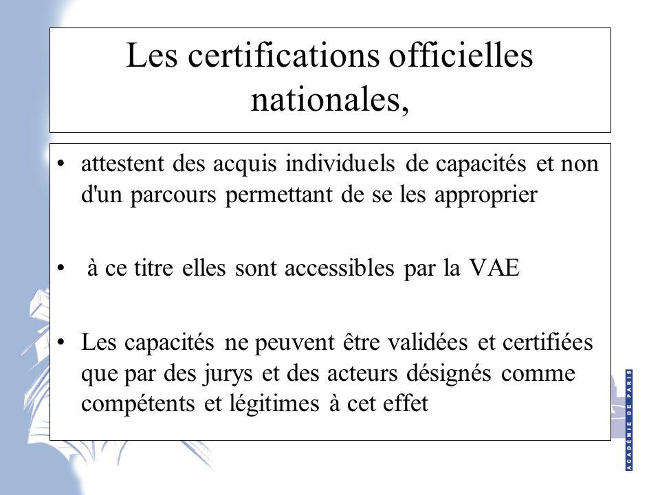 Les certifications officielles nationales,