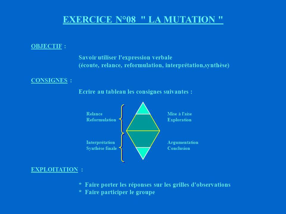 EXERCICE N°08 LA MUTATION