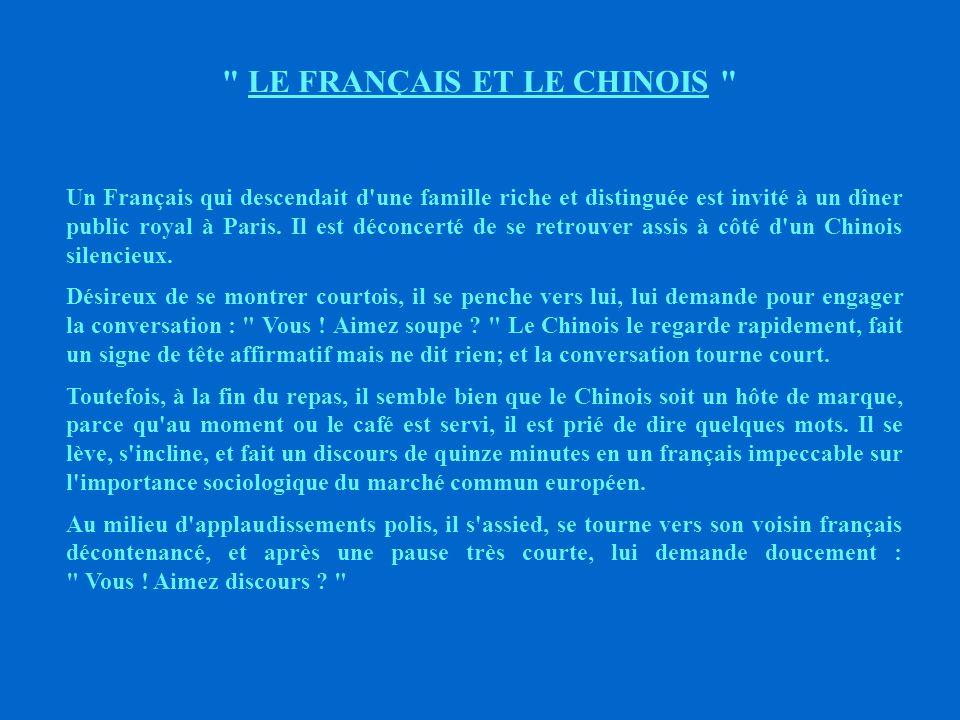 LE FRANÇAIS ET LE CHINOIS