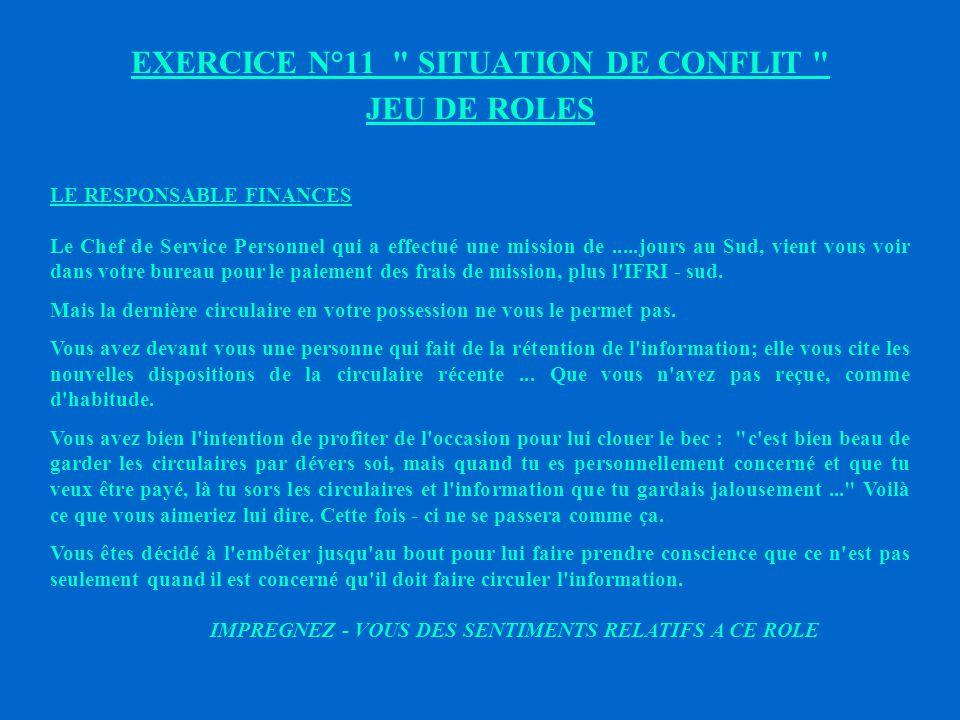 EXERCICE N°11 SITUATION DE CONFLIT JEU DE ROLES