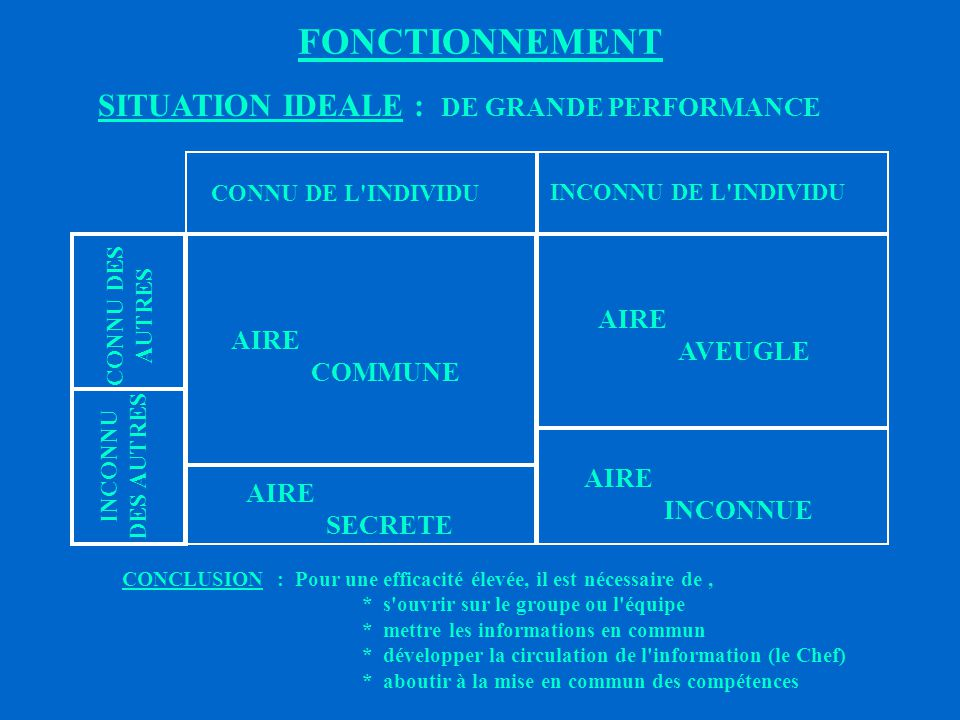 FONCTIONNEMENT SITUATION IDEALE : DE GRANDE PERFORMANCE AVEUGLE AIRE