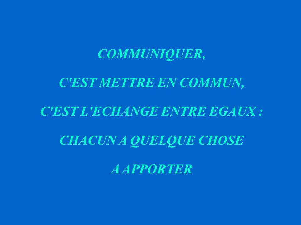 COMMUNIQUER, C EST METTRE EN COMMUN, C EST L ECHANGE ENTRE EGAUX : CHACUN A QUELQUE CHOSE A APPORTER