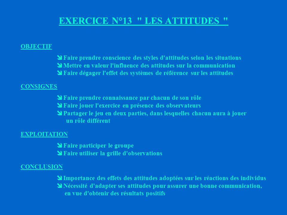 EXERCICE N°13 LES ATTITUDES
