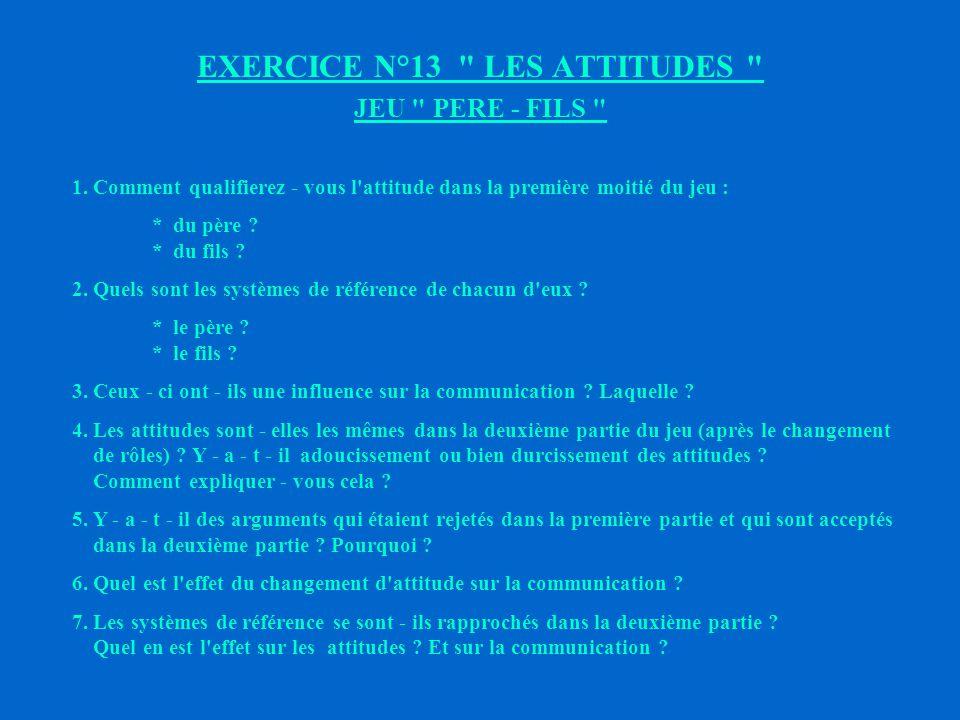 EXERCICE N°13 LES ATTITUDES JEU PERE - FILS