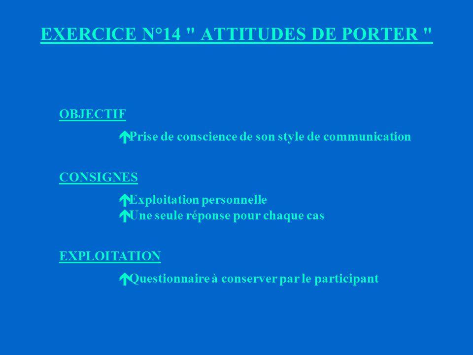 EXERCICE N°14 ATTITUDES DE PORTER