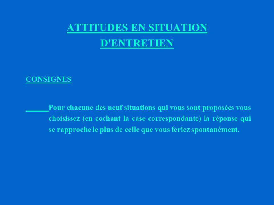 ATTITUDES EN SITUATION D ENTRETIEN
