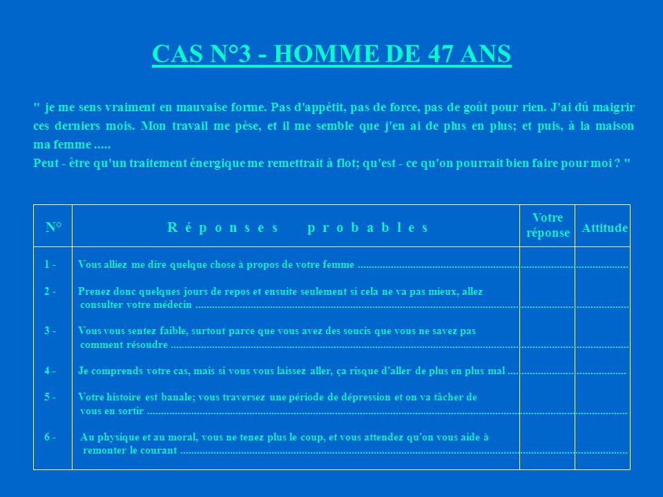 CAS N°3 - HOMME DE 47 ANS N° R é p o n s e s p r o b a b l e s