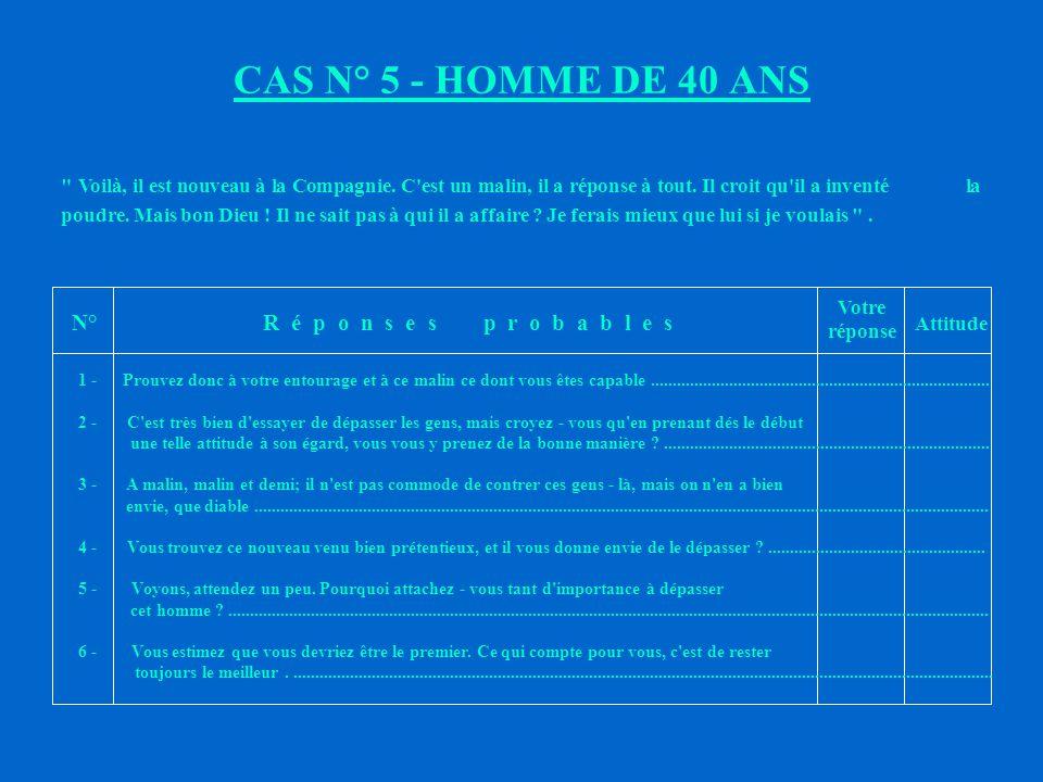 CAS N° 5 - HOMME DE 40 ANS N° R é p o n s e s p r o b a b l e s