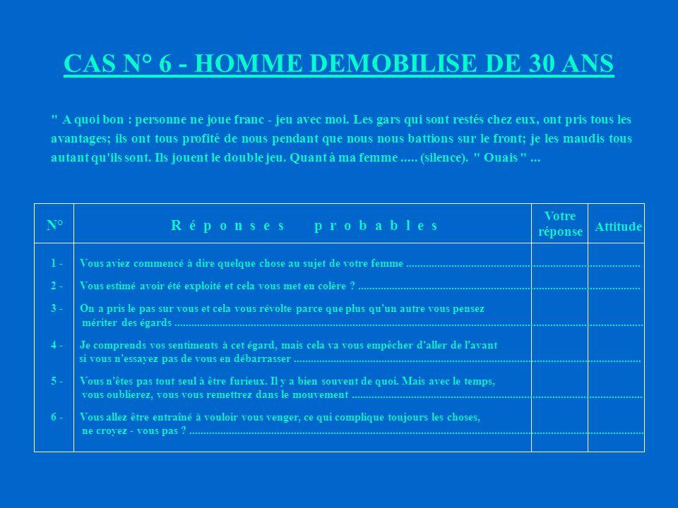 CAS N° 6 - HOMME DEMOBILISE DE 30 ANS