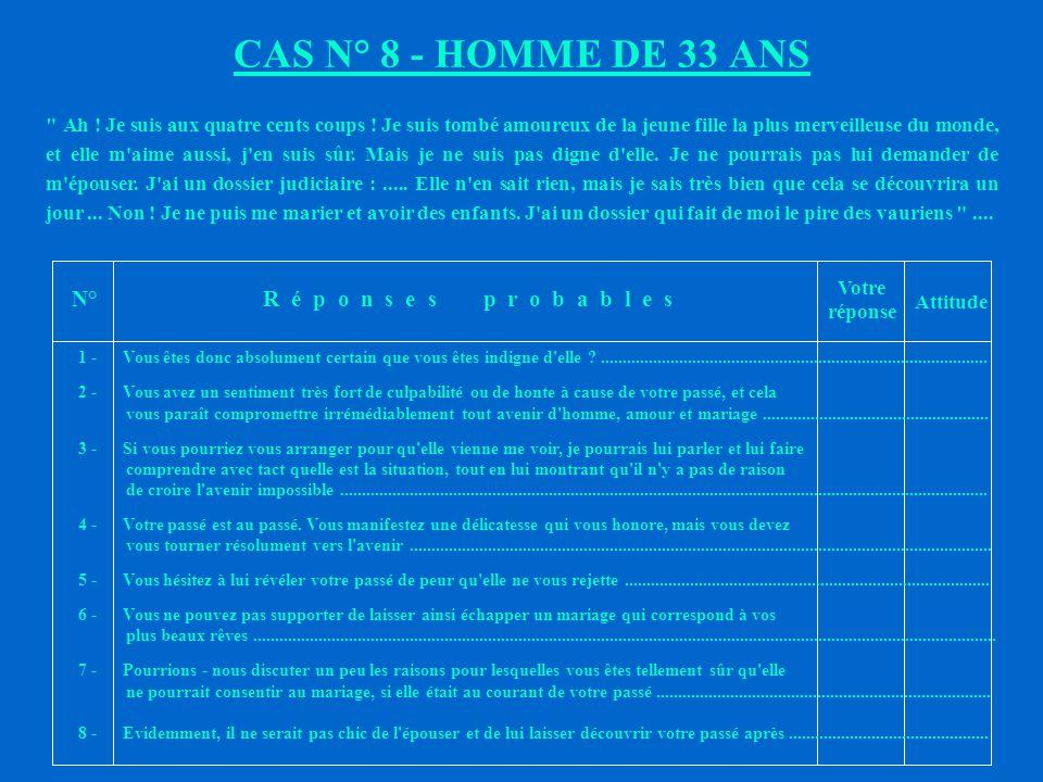 CAS N° 8 - HOMME DE 33 ANS N° R é p o n s e s p r o b a b l e s