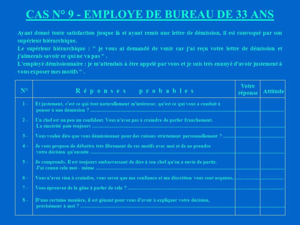 CAS N° 9 - EMPLOYE DE BUREAU DE 33 ANS