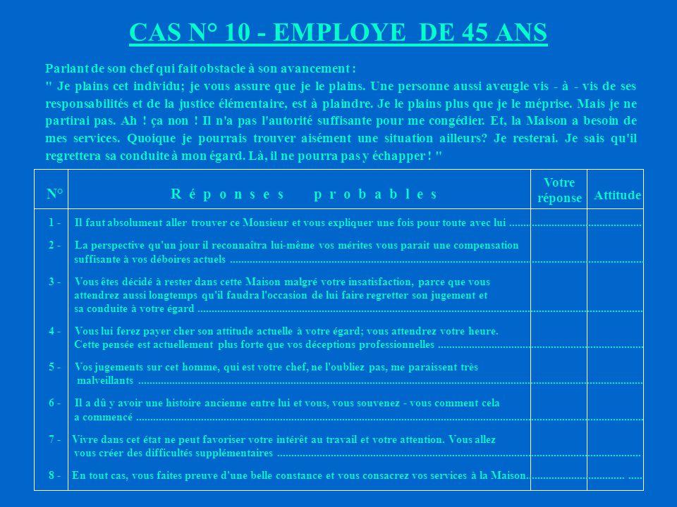 CAS N° 10 - EMPLOYE DE 45 ANS N° R é p o n s e s p r o b a b l e s
