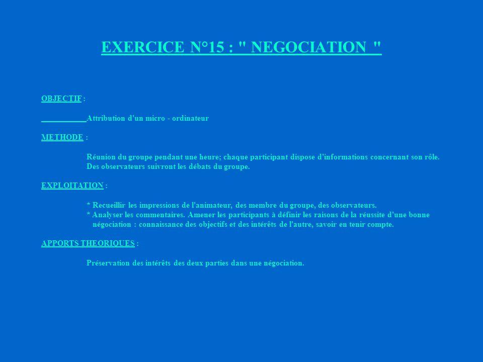 EXERCICE N°15 : NEGOCIATION