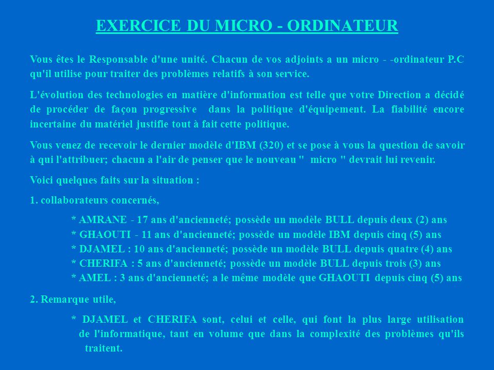 EXERCICE DU MICRO - ORDINATEUR