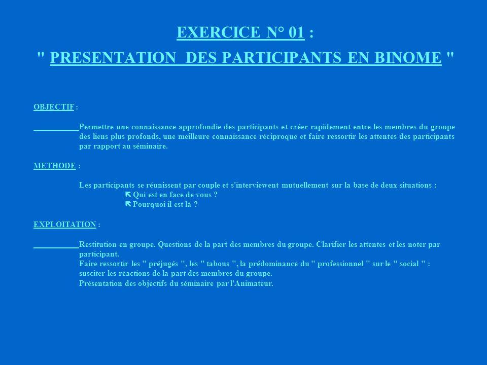EXERCICE N° 01 : PRESENTATION DES PARTICIPANTS EN BINOME