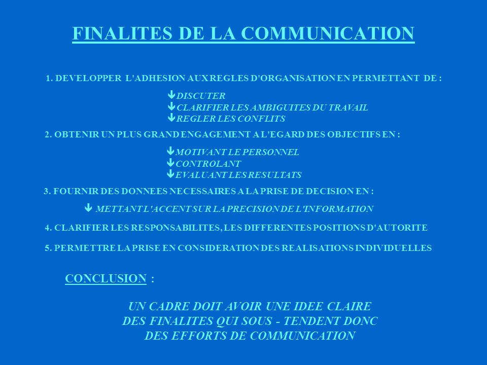 FINALITES DE LA COMMUNICATION