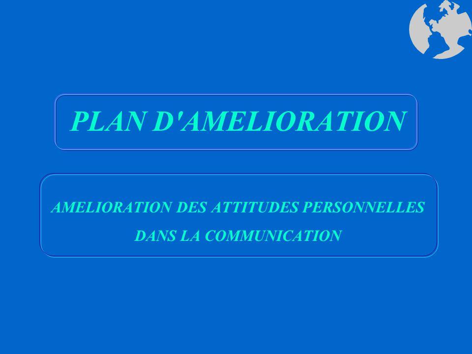 AMELIORATION DES ATTITUDES PERSONNELLES DANS LA COMMUNICATION