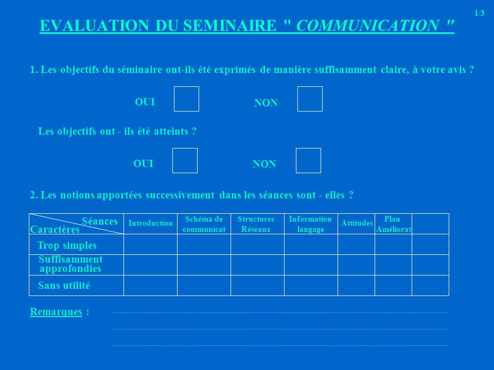 EVALUATION DU SEMINAIRE COMMUNICATION