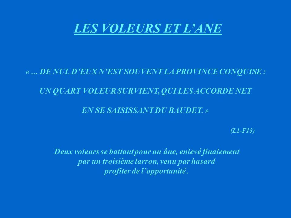 LES VOLEURS ET L'ANE « ... DE NUL D'EUX N'EST SOUVENT LA PROVINCE CONQUISE : UN QUART VOLEUR SURVIENT, QUI LES ACCORDE NET.
