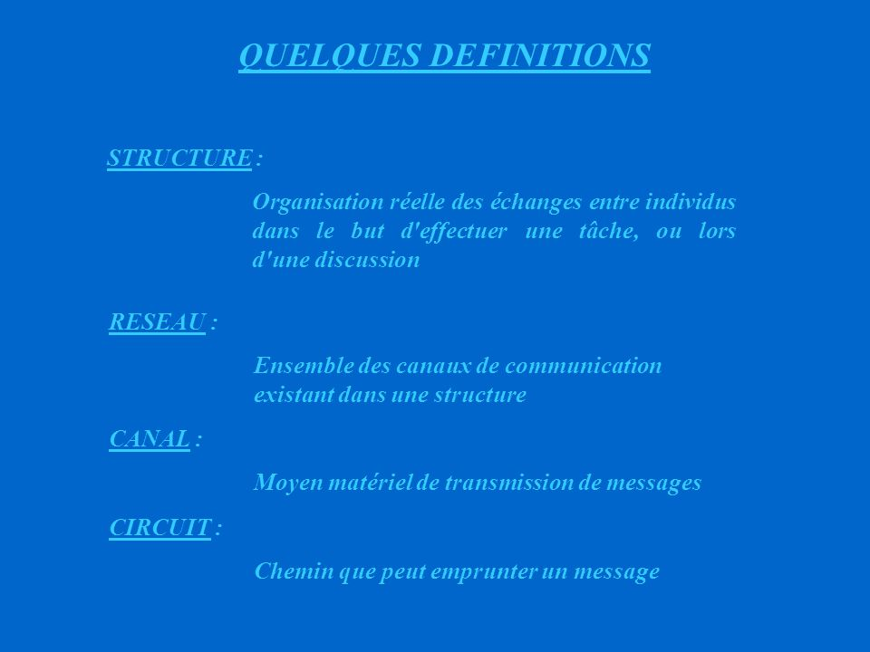 QUELQUES DEFINITIONS STRUCTURE :
