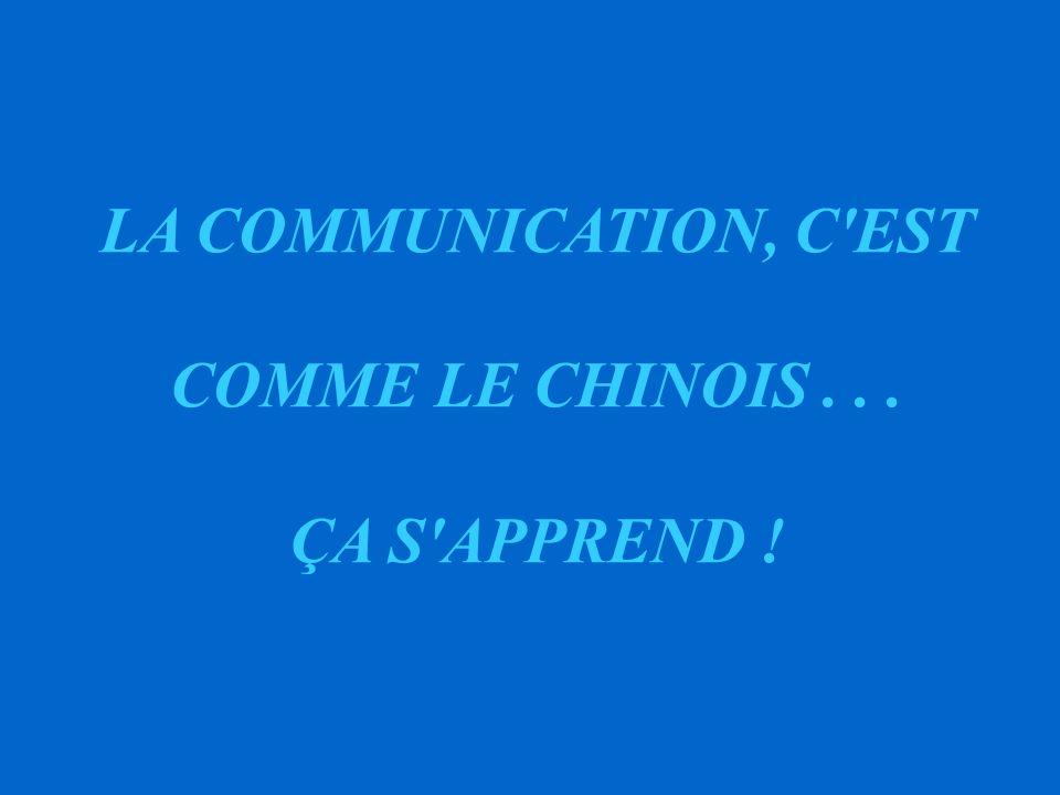 LA COMMUNICATION, C EST COMME LE CHINOIS . . . ÇA S APPREND !