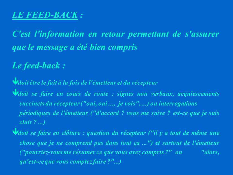 LE FEED-BACK : C est l information en retour permettant de s assurer que le message a été bien compris.