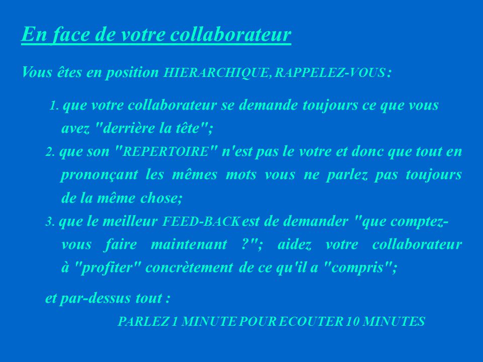 En face de votre collaborateur