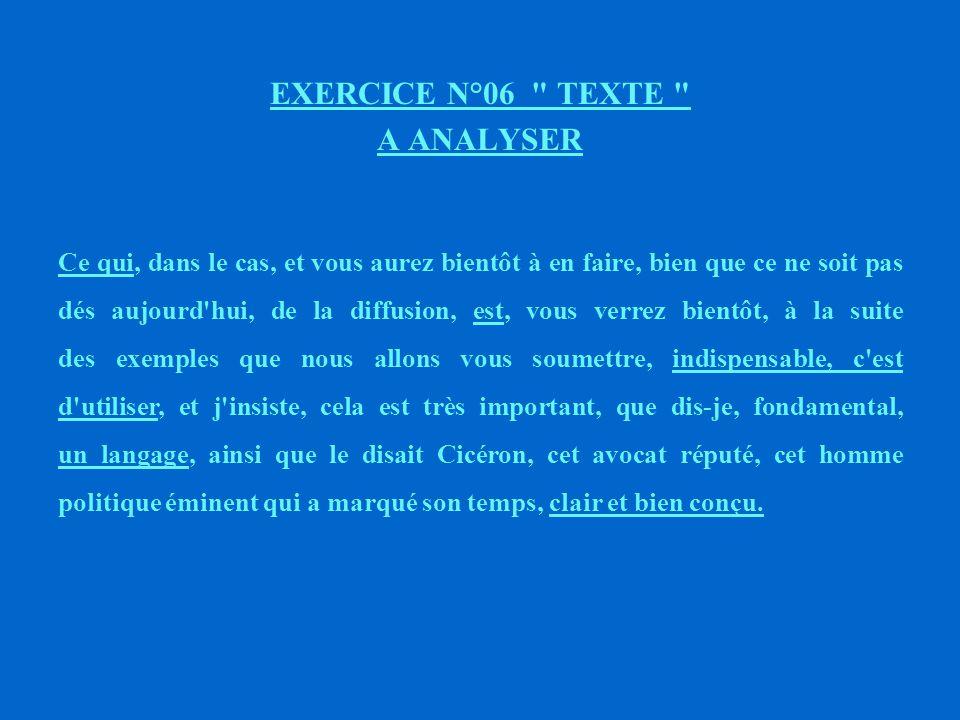 EXERCICE N°06 TEXTE A ANALYSER