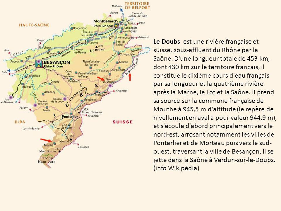 Le Doubs est une rivière française et suisse, sous-affluent du Rhône par la Saône.