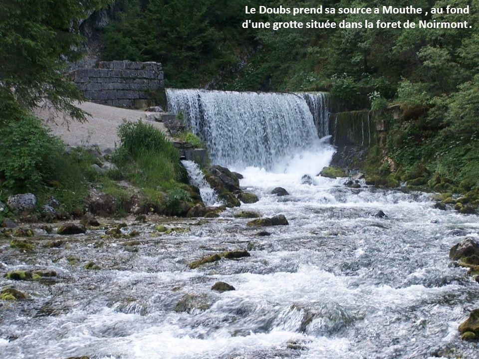 Le Doubs prend sa source a Mouthe , au fond d une grotte située dans la foret de Noirmont .