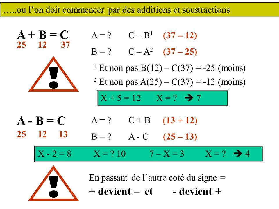 A + B = C A - B = C + devient – et - devient +