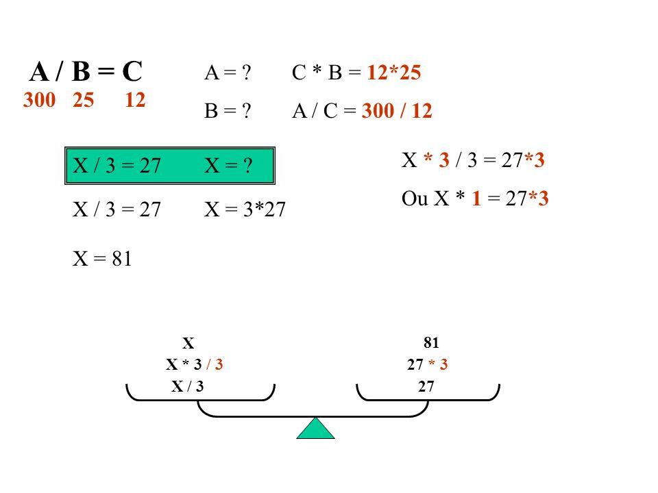 A / B = C A = C * B = 12*25. 300. 12. 25. B = A / C = 300 / 12. X * 3 / 3 = 27*3. X / 3 = 27 X =