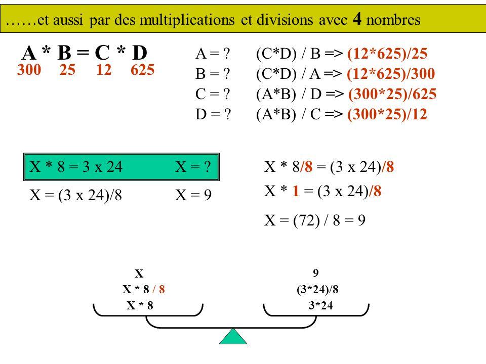 ……et aussi par des multiplications et divisions avec 4 nombres