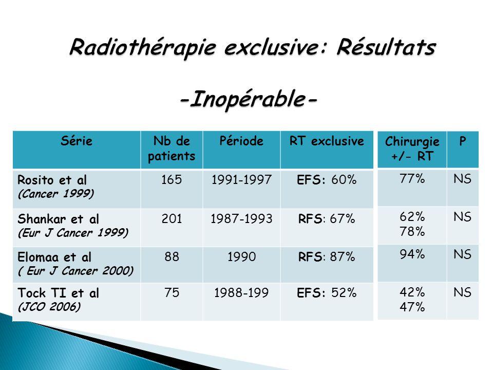 Radiothérapie exclusive: Résultats -Inopérable-