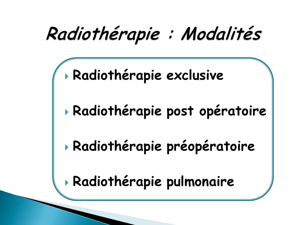 Radiothérapie : Modalités