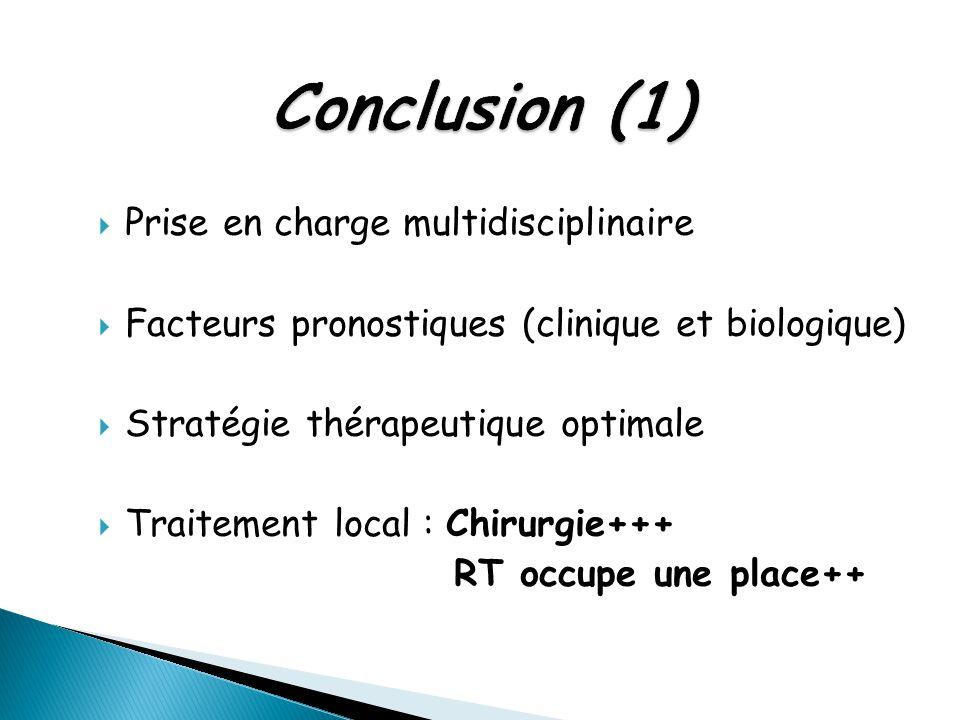 Conclusion (1) Prise en charge multidisciplinaire