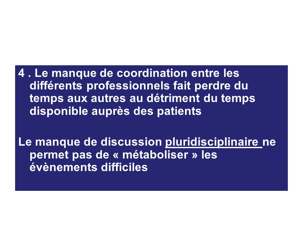 4 . Le manque de coordination entre les différents professionnels fait perdre du temps aux autres au détriment du temps disponible auprès des patients