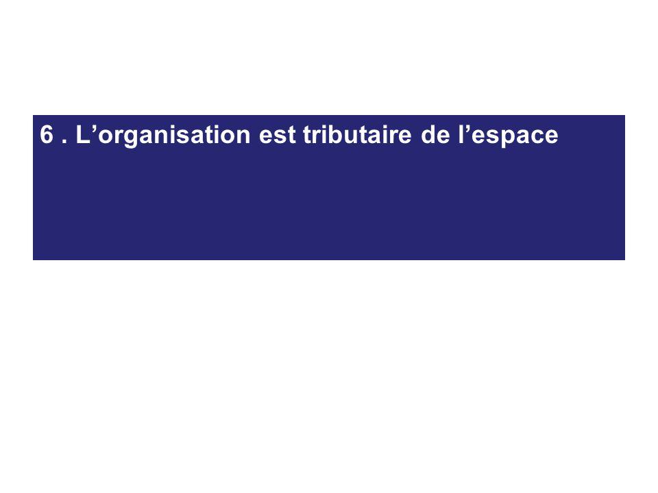 6 . L'organisation est tributaire de l'espace