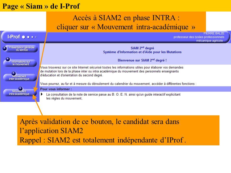 Page « Siam » de I-Prof Accès à SIAM2 en phase INTRA : cliquer sur « Mouvement intra-académique »