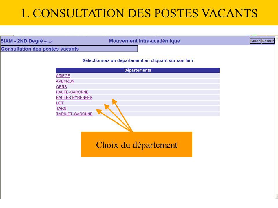 1. CONSULTATION DES POSTES VACANTS