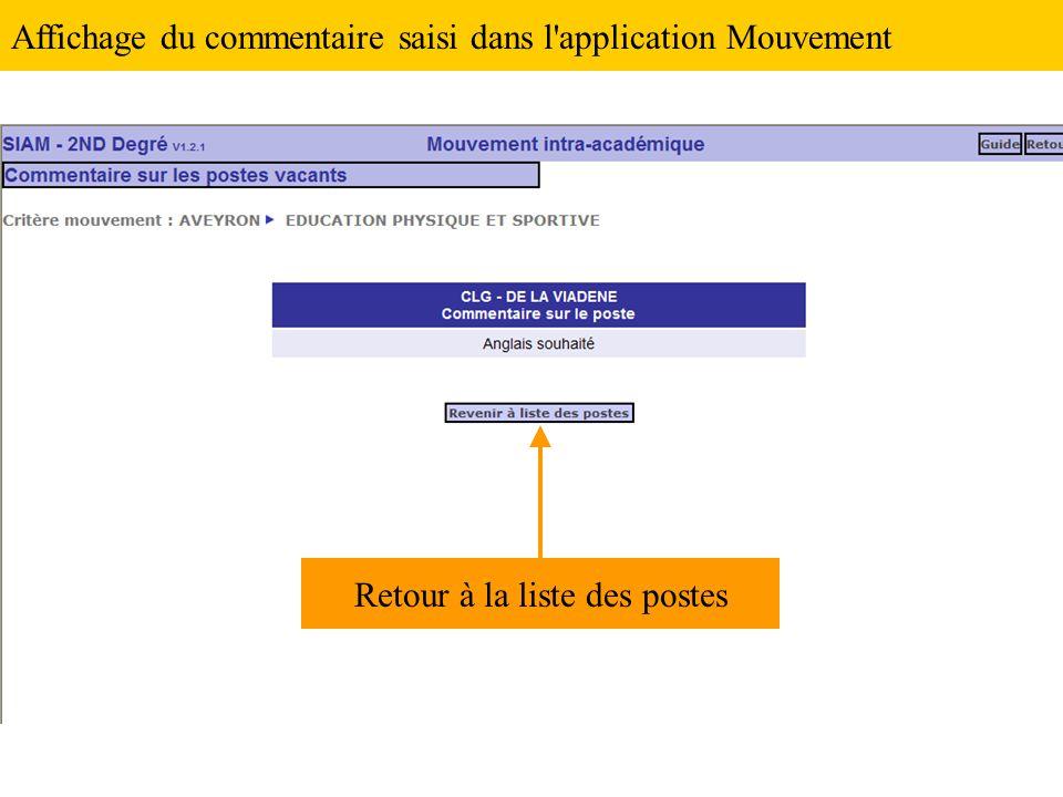 Affichage du commentaire saisi dans l application Mouvement