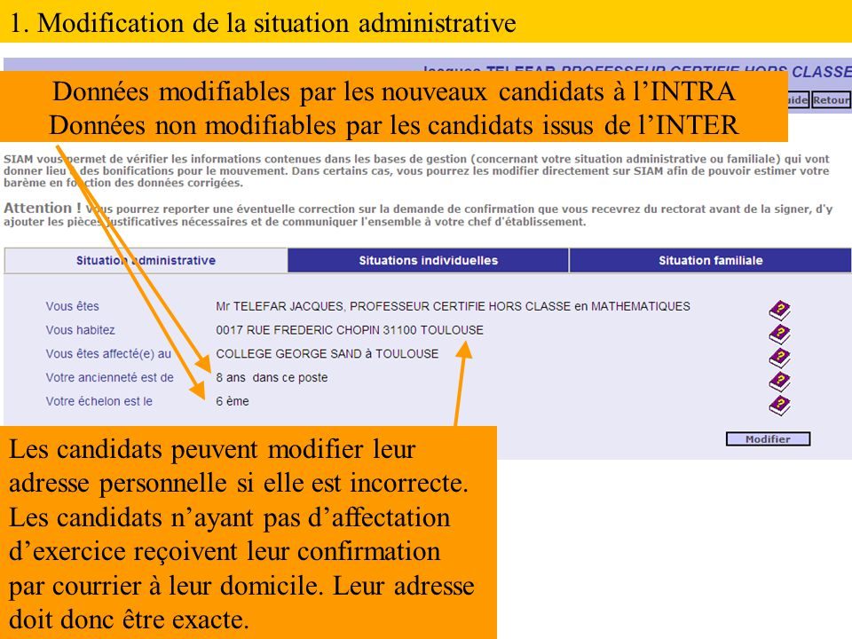1. Modification de la situation administrative